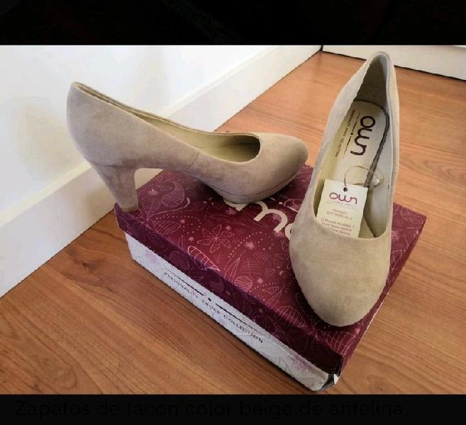 Zapatos salon beige antelina 38