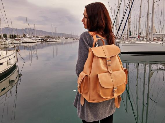 Extra large leather backpack / full grain leather travel