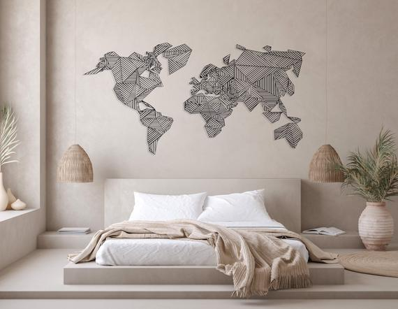 Metal world map / metal wall art / metal wall decor /