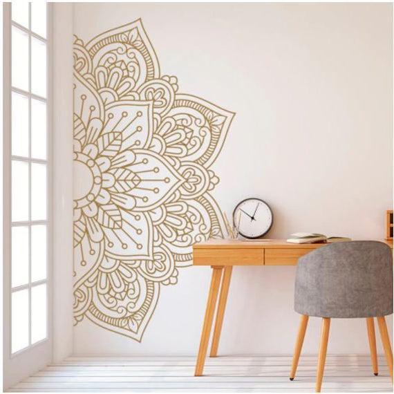Oro / blanco / negro medio mandala pared calcomanteto yoga
