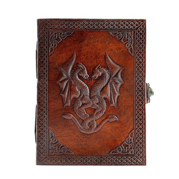 Diario de doble dragón de cuero hecho a mano / diario del
