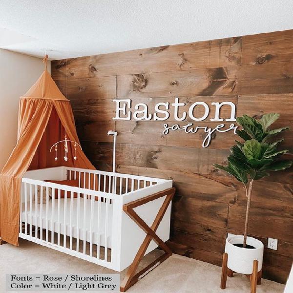 Doble nombre del bebé signo / decoración de la pared de la