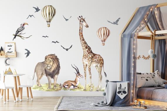 Xxl safari wildlife sticker set para vivero, acuarela