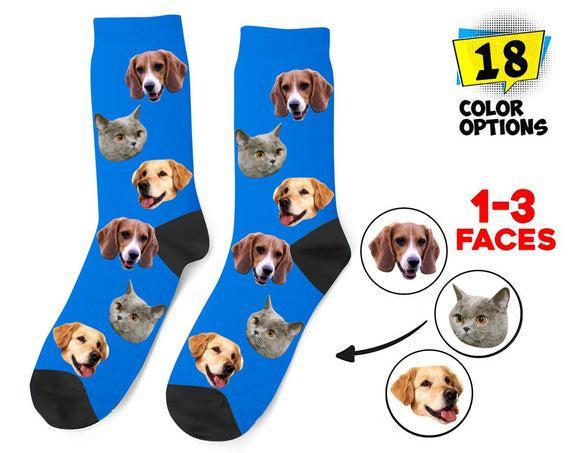 Calcetines personalizados de cara de perro, convertir su