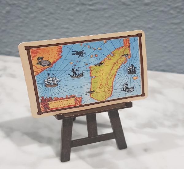Mapa con trípode de playmobil, piratas