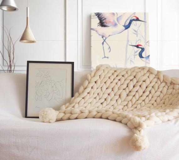 Manta xxl con pompones, manta lana gigante, lana ecológica,