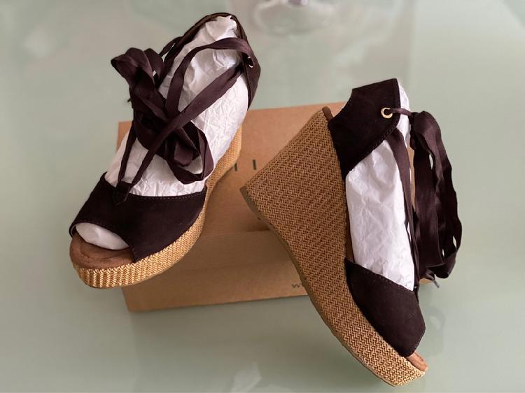 Sandalias de cuña, piel, marrón chocolate, unisa,
