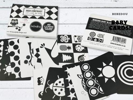 Sensory flash cards art cards for baby * 7 black and white