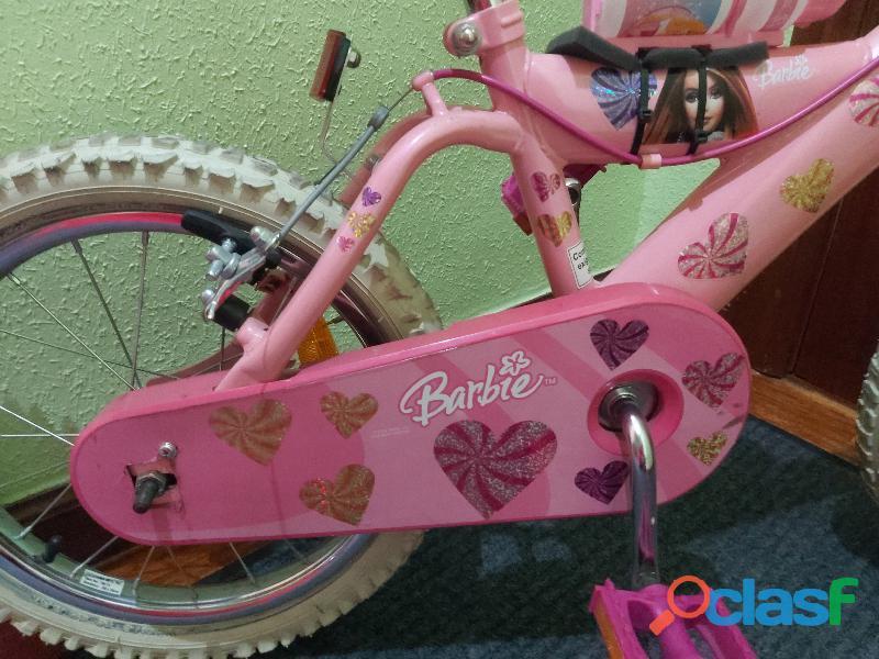 "Bicicleta Barbie con ruedines de 16"""