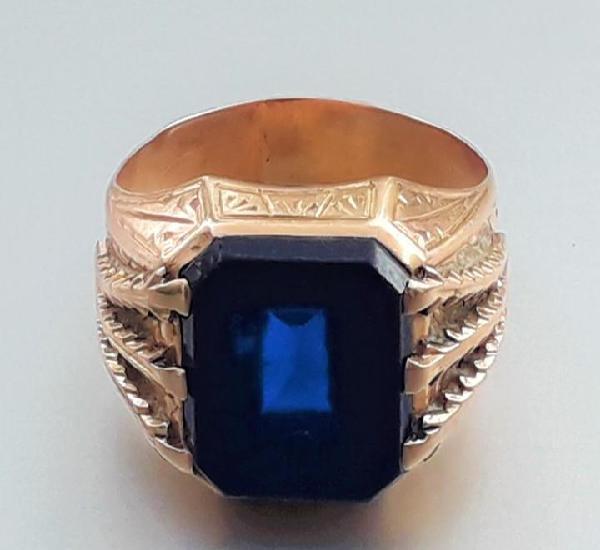 Antiguo anillo sello de oro con cristal piedra azul