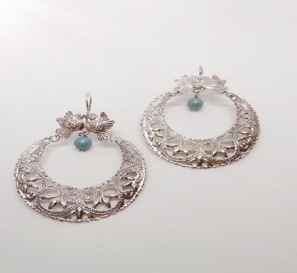 Pendientes filigranas en plata y turquesas