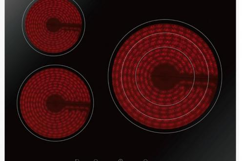 Vitrocerámica de cristal negro de ancho 60cm.3 zonas de