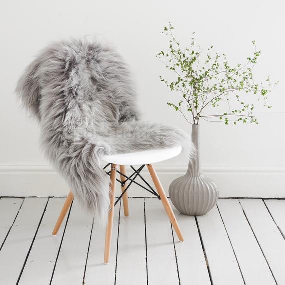 Gris / gris piel de oveja throw & rug / icelandic longhair