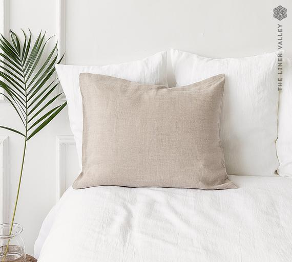 Natural unbleached linen pillow case- not dyed linen-