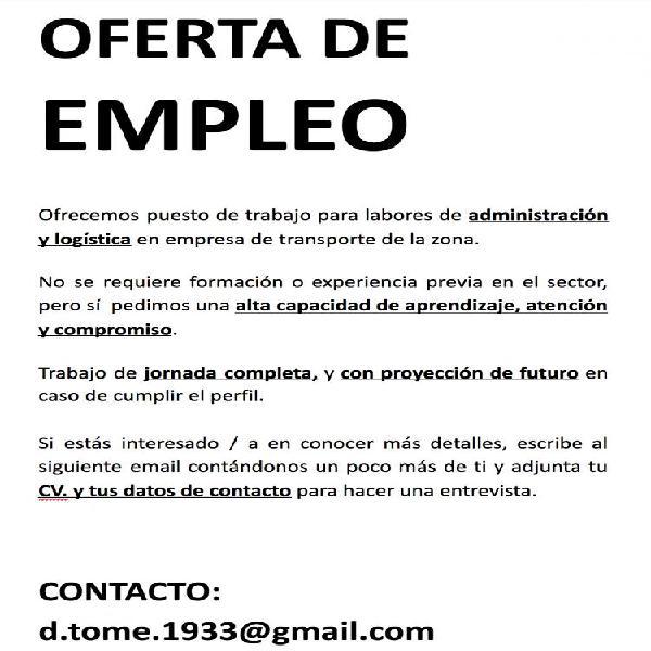 OFERTA DE EMPLEO - SECTOR LOGÍSTICO Y TRANSPORTE