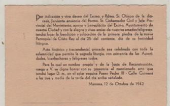 Cartón de manresa - indicación de excmo, rdmo sr.obispo de
