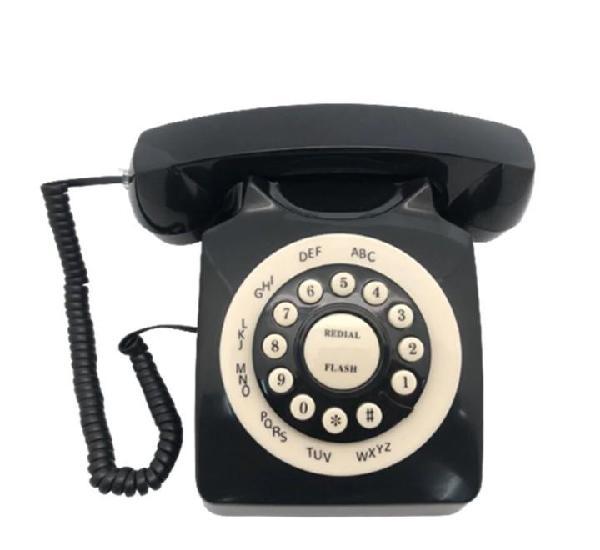Telefono vintage retro negro con ruleta