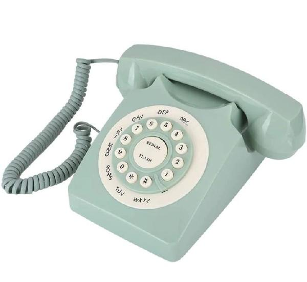 Telefono vintage retro verde con ruleta
