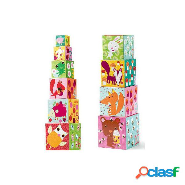 Djeco - cubos apilables bosque (10uds)