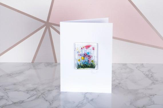 Arte de vidrio fundido hecho a mano - cartas - flor