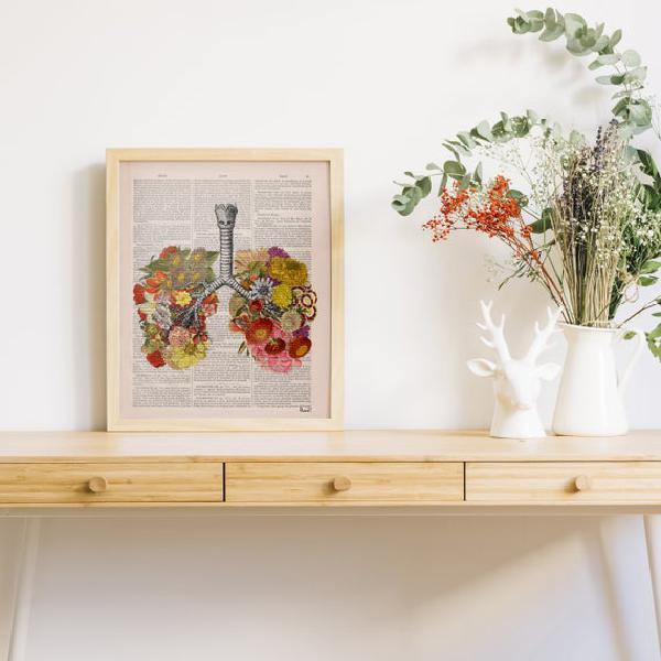 Impresión de arte mural pulmones floridos impresión -