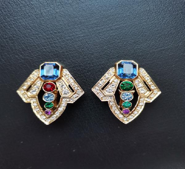 Impresionantes pendientes chapado oro cristal varios colores