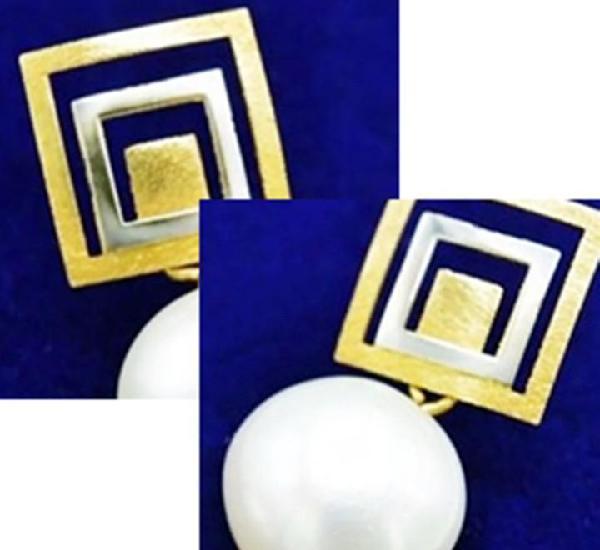Oro ley 18k - originales pendientes en oro amarillo y blanco