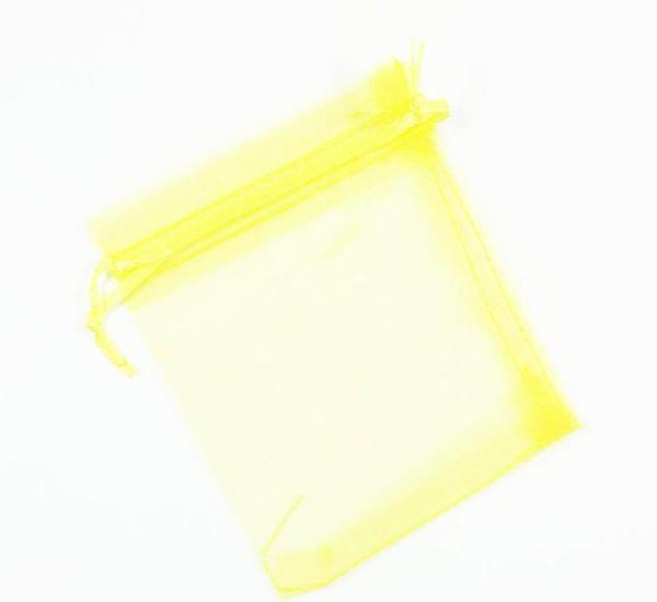 Paquete 10 bolsas de organza 12 x 10cm, color amarillo fluo
