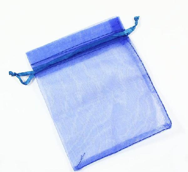 Paquete 10 bolsas de organza 12 x 10cm, color azul marino