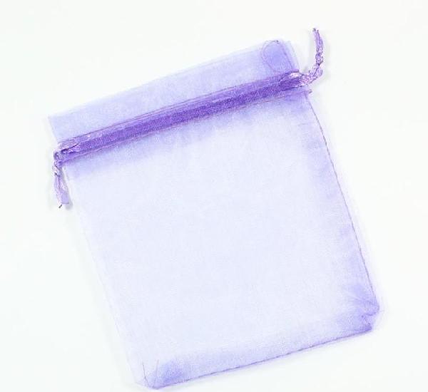Paquete 10 bolsas de organza 12 x 10cm, color lila