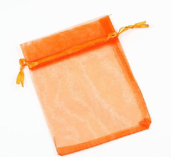 Paquete 10 bolsas de organza 12 x 10cm, color naranja