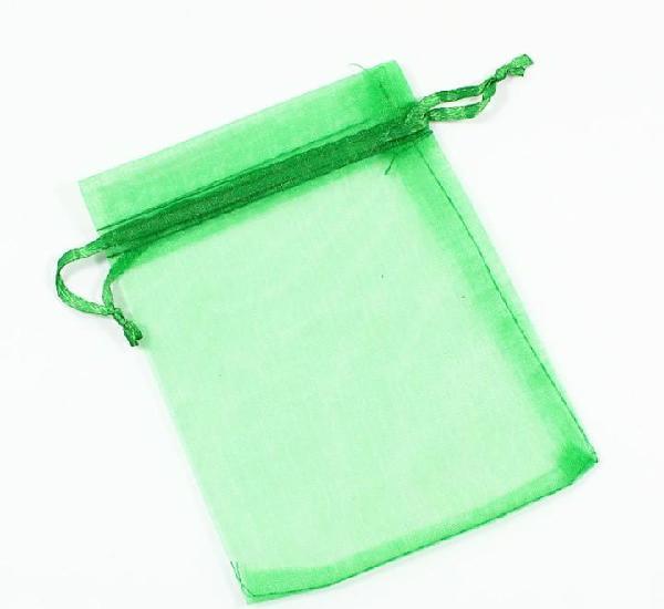 Paquete 10 bolsas de organza 12 x 10cm, color verde