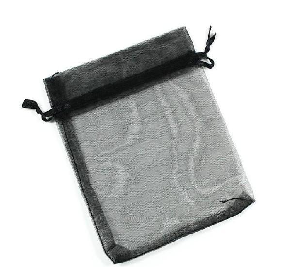 Paquete 10 bolsas de organza 12 x 10cm, color negro