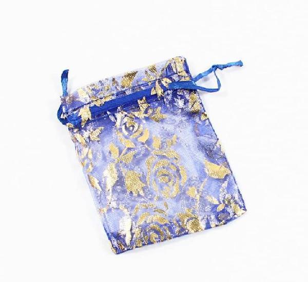 Paquete 10 bolsas de organza decoradas 9 x 7cm