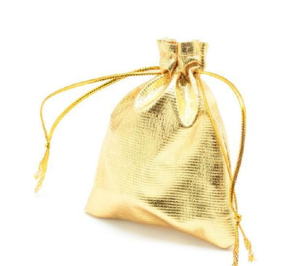 Paquete 10 bolsas de regalo en tela dorada 9 x 7cm