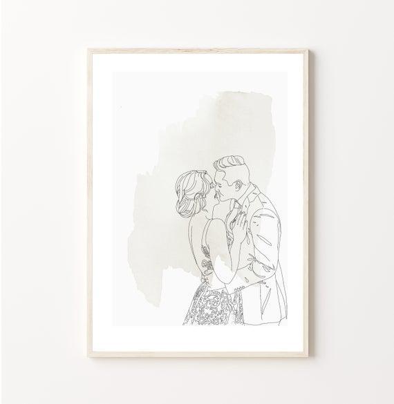 A4 watercolour-custom wedding portrait from photo - custom