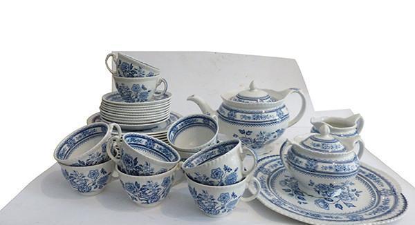 Conjunto de café y postres de porcelana inglesa