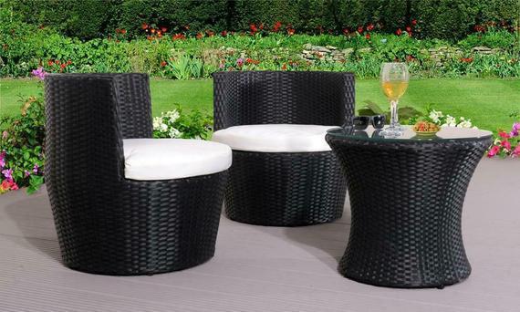 3 piezas rattan bistro patio jardín muebles set - mesa &2