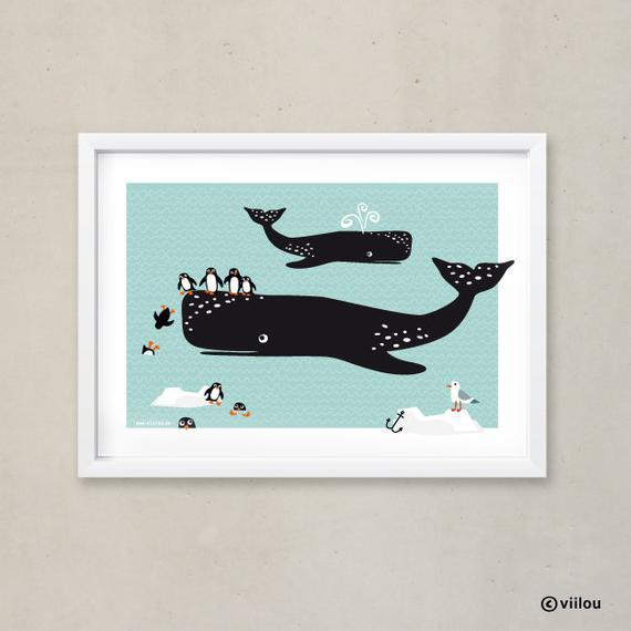 Fotos sala infantil carteles ballenas &pingüinos