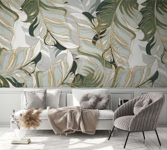 Gris blanco y verde claro acuarela exótica hojas papel