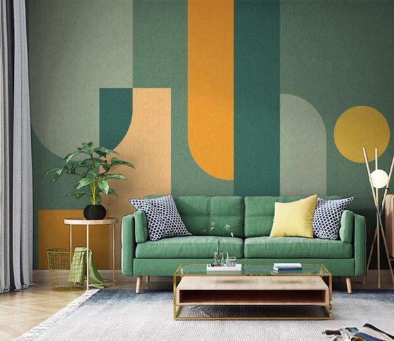 Verde naranja geométrica formas papel pintado autoadhesivo