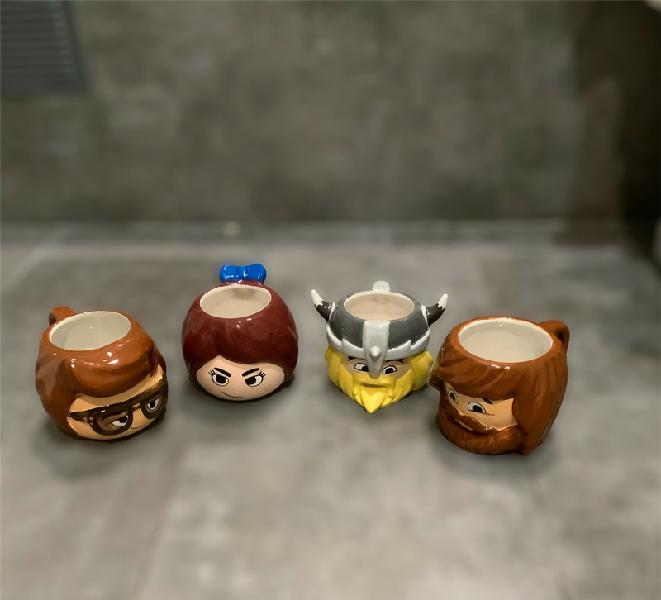 Playmobil, complete set of 4 3d ceramic mugs, net