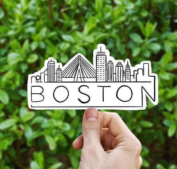 Boston skyline vinilo pegatina, massachusetts, mejor regalo