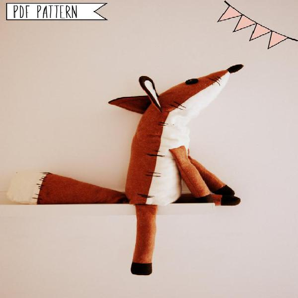 Pdf sewing pattern fox stuffed animal -fox plush toy