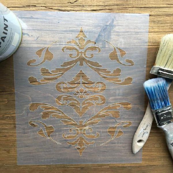 Plantilla vintage de diseño damask para paredes, muebles o