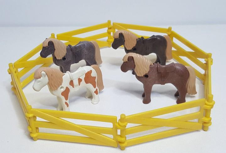 Playmobil valla vallado amarillo granja pony burro rancho
