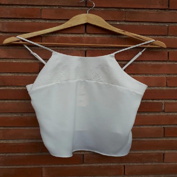 Zara off-white satin halter top
