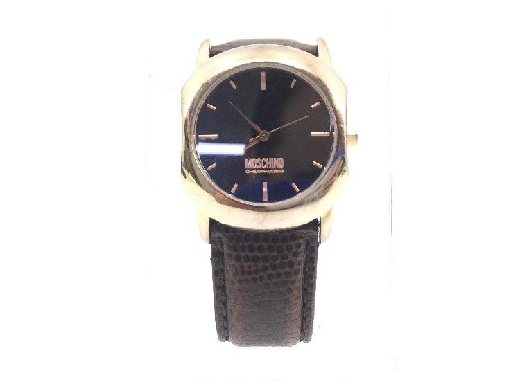 Reloj pulsera caballero moschino correa piel esfera negra