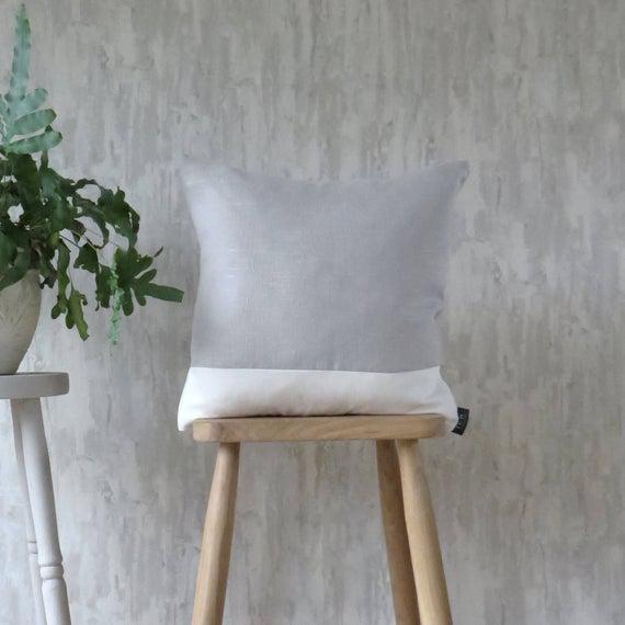 Gris claro y cojín blanco, mezcla de algodón de lino de