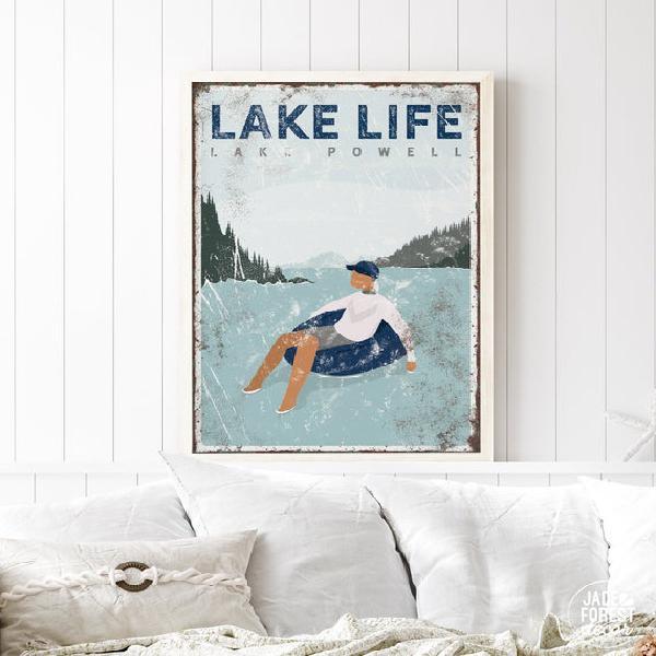 Navy lake life sign > personalized nautical blue lake house